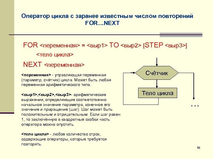 Оператор цикла с заранее известным числом повторений FOR…NEXT FOR <переменная> = <выр1> TO <выр2>