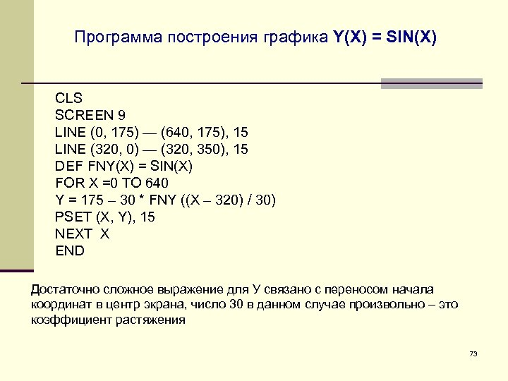Программа построения графика Y(X) = SIN(X) CLS SCREEN 9 LINE (0, 175) — (640,