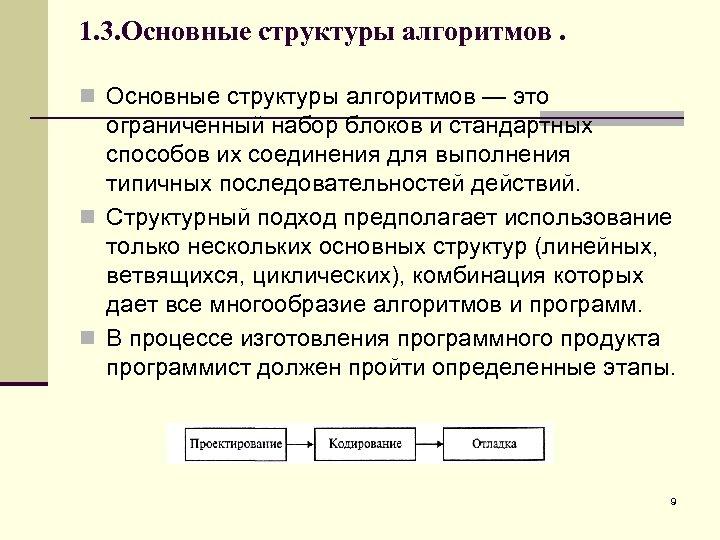 1. 3. Основные структуры алгоритмов. n Основные структуры алгоритмов — это ограниченный набор блоков