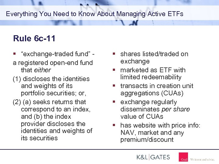 """Everything You Need to Know About Managing Active ETFs Rule 6 c-11 """"exchange-traded fund"""""""