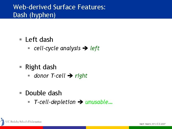 Web-derived Surface Features: Dash (hyphen) § Left dash § cell-cycle analysis left § Right