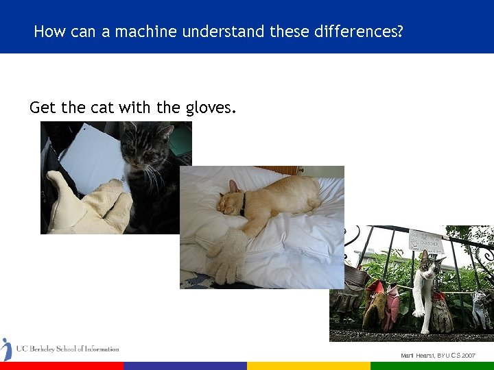 How can a machine understand these differences? Get the cat with the gloves. Marti