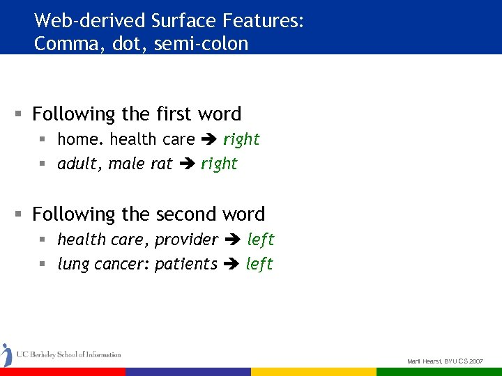Web-derived Surface Features: Comma, dot, semi-colon § Following the first word § home. health