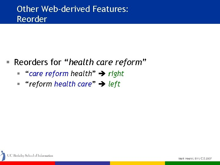 "Other Web-derived Features: Reorder § Reorders for ""health care reform"" § ""care reform health"""