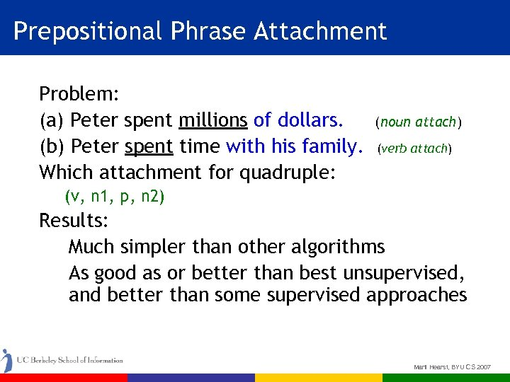 Prepositional Phrase Attachment Problem: (a) Peter spent millions of dollars. (b) Peter spent time