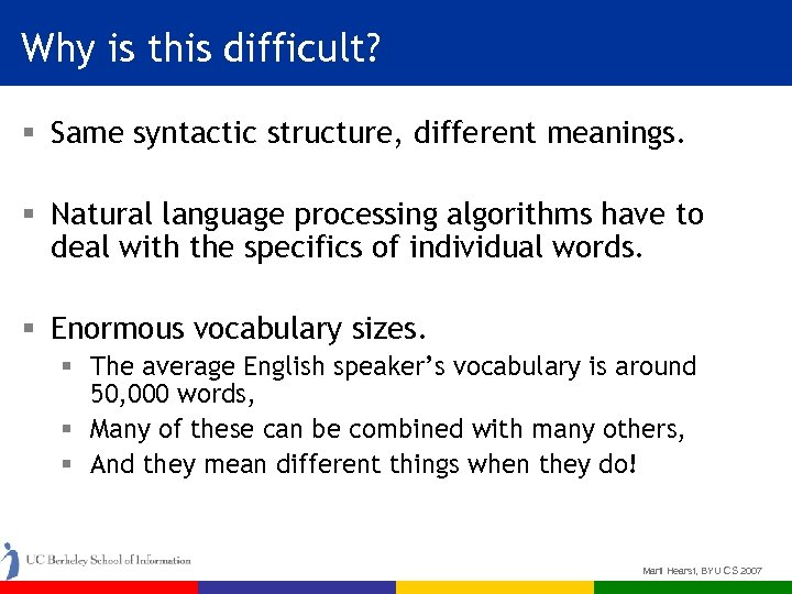 Why is this difficult? § Same syntactic structure, different meanings. § Natural language processing