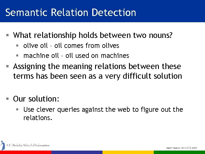 Semantic Relation Detection § What relationship holds between two nouns? § olive oil –