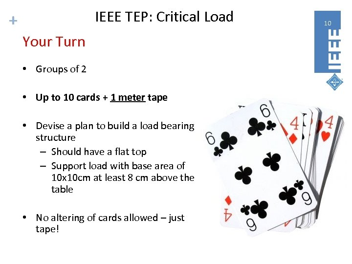 IEEE TEP: Critical Load + Your Turn • Groups of 2 • Up to