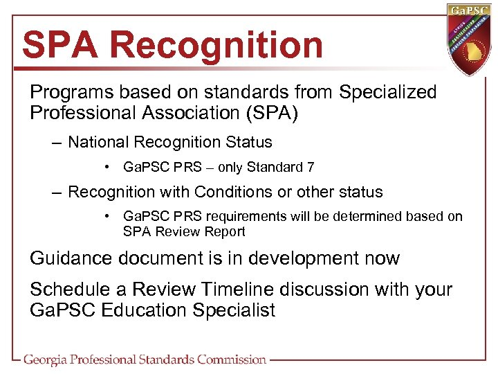 SPA Recognition Programs based on standards from Specialized Professional Association (SPA) – National Recognition
