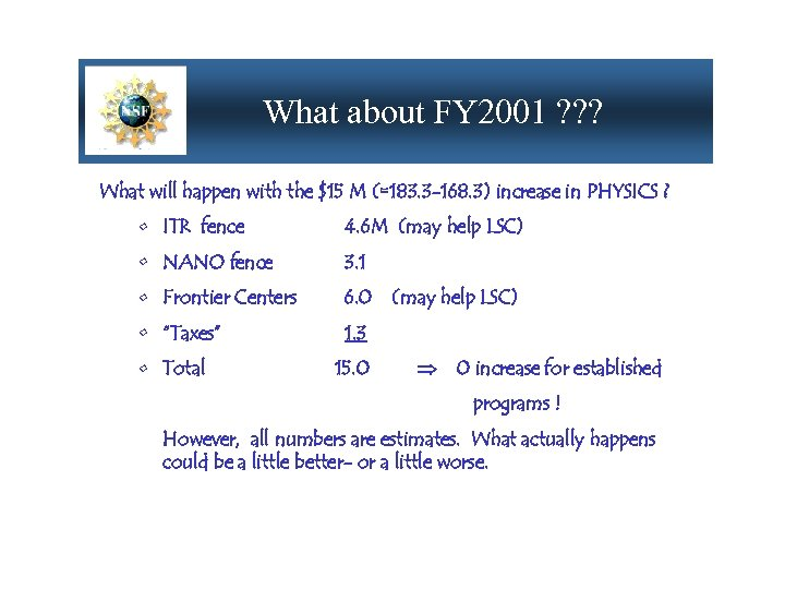 What about FY 2001 ? ? ? What will happen with the $15 M