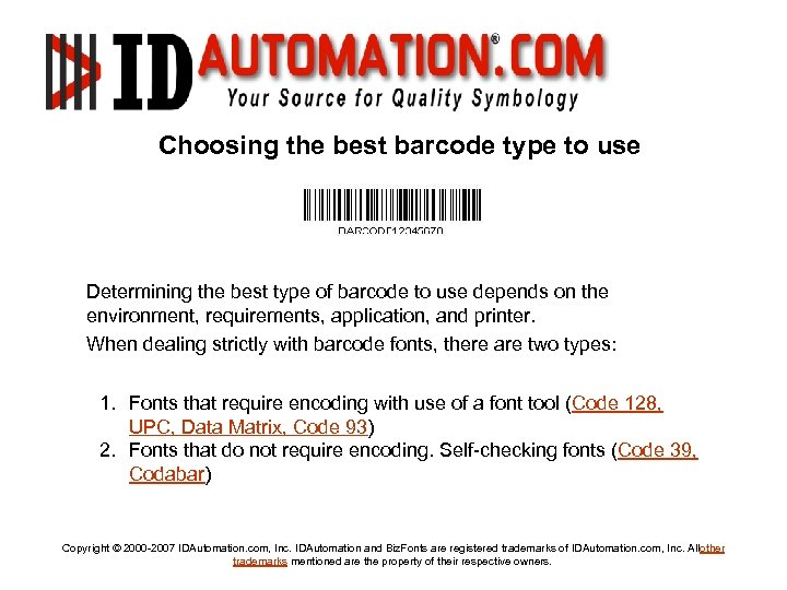 Barcoding For Beginners Tutorial and FAQ Copyright
