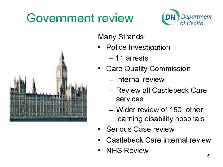 Government review Many Strands: • Police Investigation – 11 arrests • Care Quality Commission