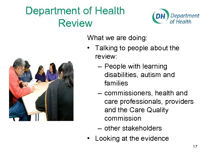 Department of Health Review What we are doing: • Talking to people about the