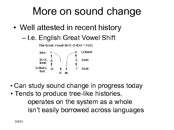 More on sound change • Well attested in recent history – I. e. English