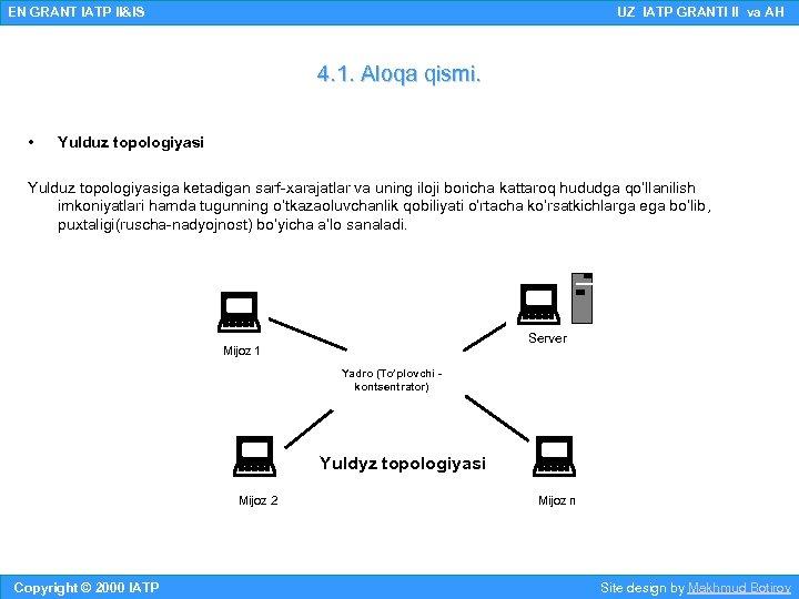 EN GRANT IATP II&IS UZ IATP GRANTI II va AH 4. 1. Aloqa qismi.