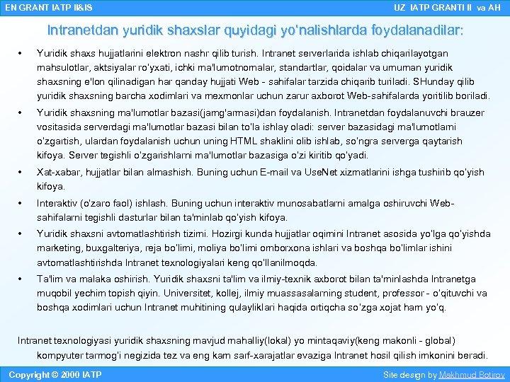 EN GRANT IATP II&IS UZ IATP GRANTI II va AH Intranetdan yuridik shaxslar quyidagi