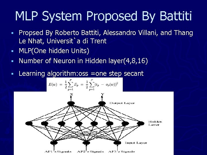 MLP System Proposed By Battiti Propsed By Roberto Battiti, Alessandro Villani, and Thang Le