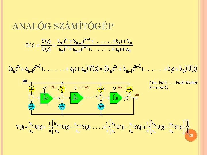 ANALÓG SZÁMÍTÓGÉP ( bn, bn-1, . . . bn-k=0 ahol k = n-m-1) 39