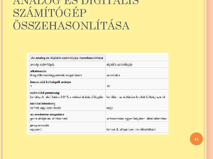 ANALÓG ÉS DIGITÁLIS SZÁMÍTÓGÉP ÖSSZEHASONLÍTÁSA 41