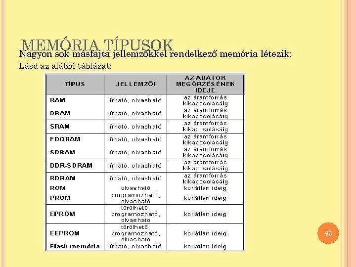 MEMÓRIA TÍPUSOK Nagyon sok másfajta jellemzőkkel rendelkező memória létezik: Lásd az alábbi táblázat: 85