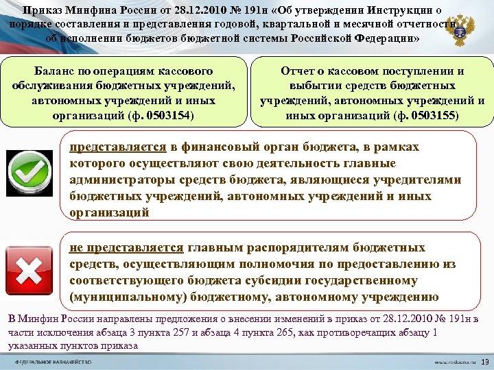 Приказ Минфина России от 28. 12. 2010 № 191 н «Об утверждении Инструкции о