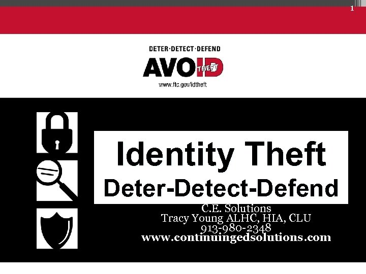 1 Identity Theft Deter-Detect-Defend C. E. Solutions Tracy Young ALHC, HIA, CLU 913 -980
