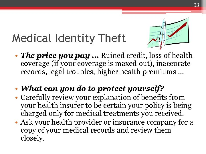 33 Medical Identity Theft • The price you pay … Ruined credit, loss of