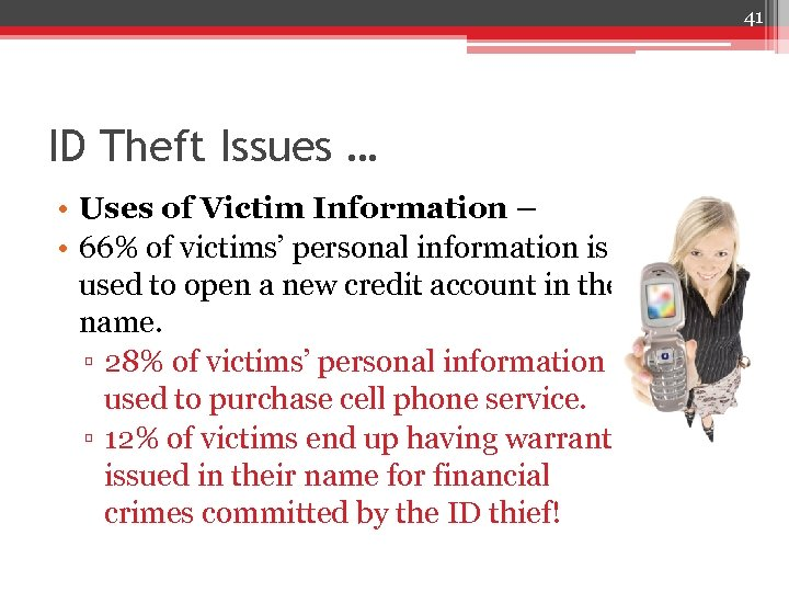 41 ID Theft Issues … • Uses of Victim Information – • 66% of