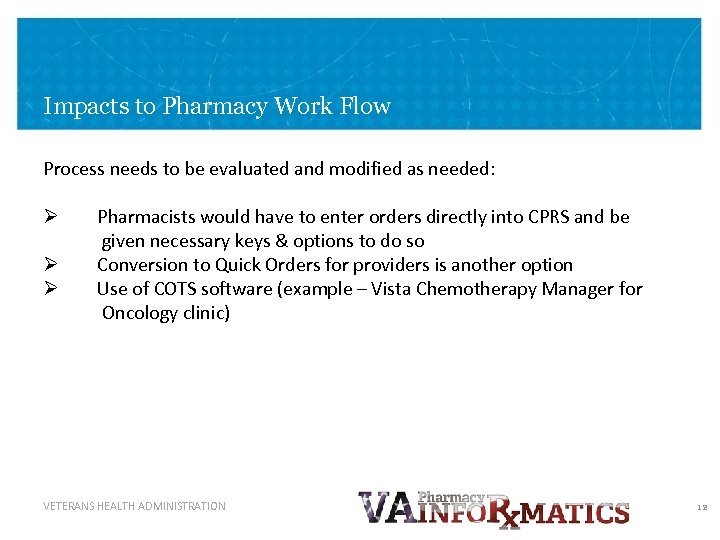 Impacts to Pharmacy Work Flow Process needs to be evaluated and modified as needed: