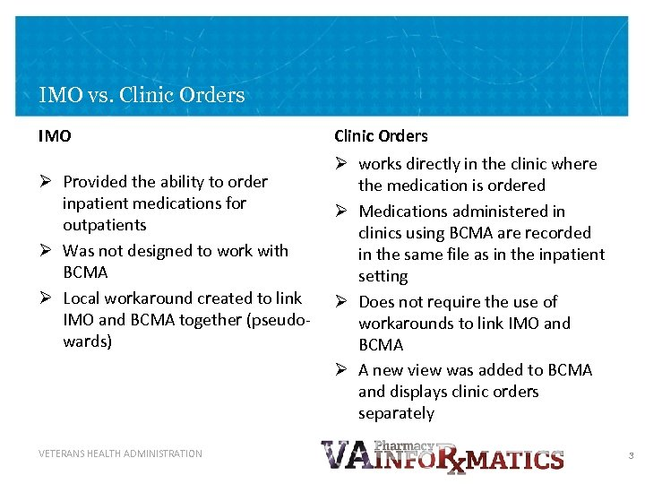 IMO vs. Clinic Orders IMO Ø Provided the ability to order inpatient medications for
