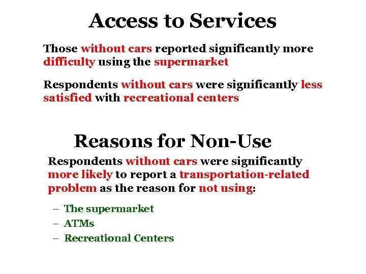 Access to Services Those without cars reported significantly more difficulty using the supermarket Respondents