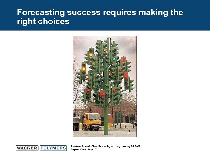 Forecasting success requires making the right choices Roadmap To World Class Forecasting Accuracy, Januray