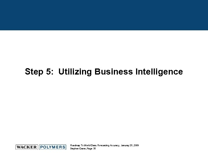 Step 5: Utilizing Business Intelligence Roadmap To World Class Forecasting Accuracy, Januray 25, 2009