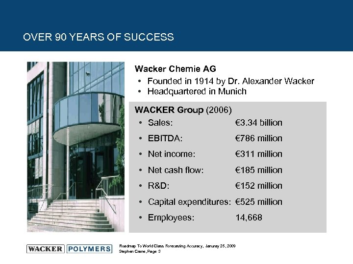 OVER 90 YEARS OF SUCCESS Wacker Chemie AG • Founded in 1914 by Dr.