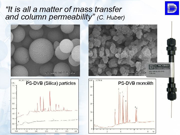 """""""It is all a matter of mass transfer and column permeability"""" (C. Huber) PS-DVB"""