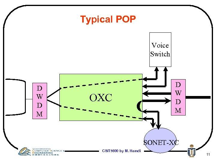 Typical POP Voice Switch D W D M OXC D W D M SONET-XC