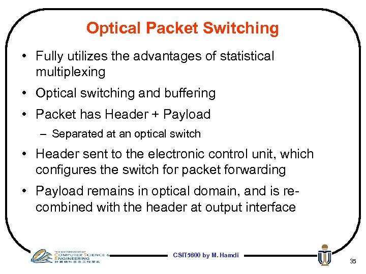 Optical Packet Switching • Fully utilizes the advantages of statistical multiplexing • Optical switching