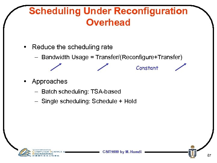 Scheduling Under Reconfiguration Overhead • Reduce the scheduling rate – Bandwidth Usage = Transfer/(Reconfigure+Transfer)