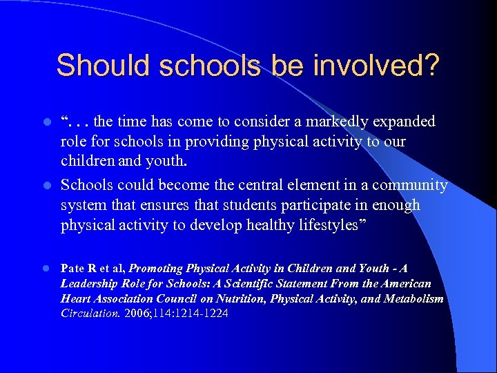 """Should schools be involved? """". . . the time has come to consider a"""
