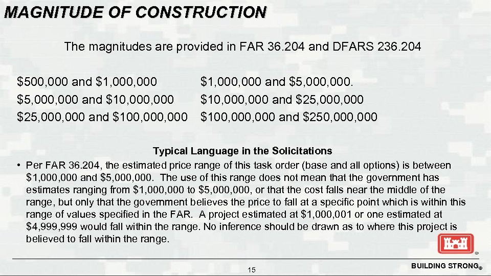 MAGNITUDE OF CONSTRUCTION The magnitudes are provided in FAR 36. 204 and DFARS 236.