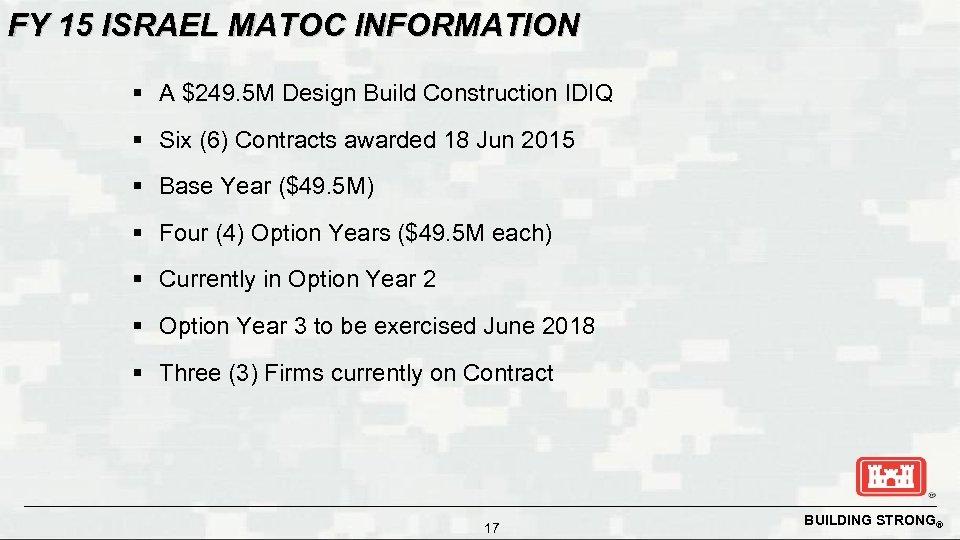 FY 15 ISRAEL MATOC INFORMATION § A $249. 5 M Design Build Construction IDIQ