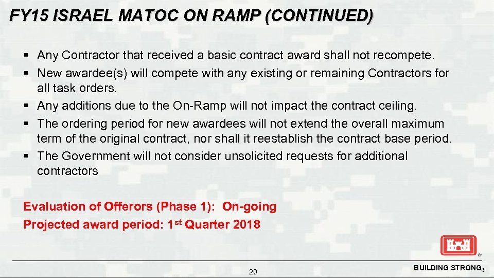 FY 15 ISRAEL MATOC ON RAMP (CONTINUED) § Any Contractor that received a basic