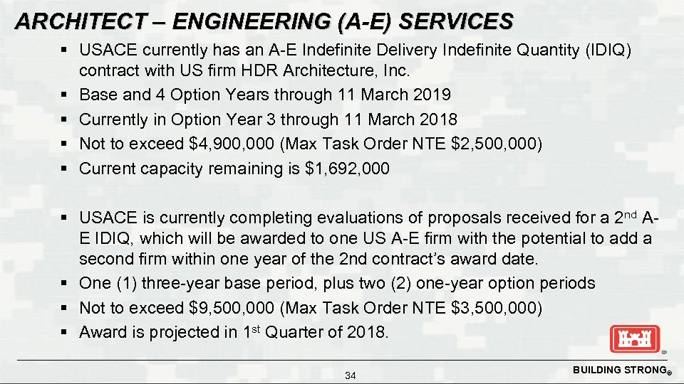 ARCHITECT – ENGINEERING (A-E) SERVICES § USACE currently has an A-E Indefinite Delivery Indefinite