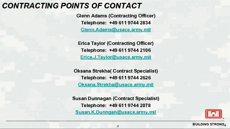 CONTRACTING POINTS OF CONTACT Glenn Adams (Contracting Officer) Telephone: +49 611 9744 2834 Glenn.