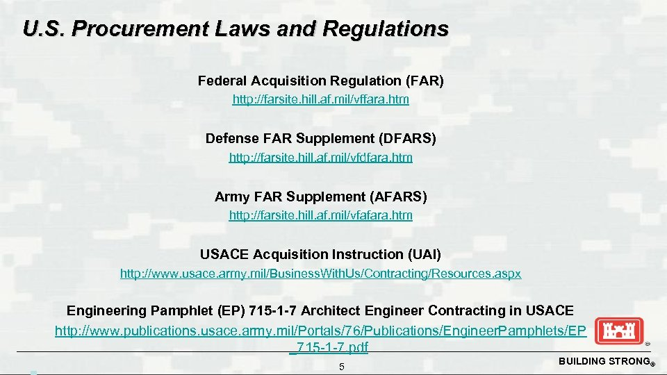 U. S. Procurement Laws and Regulations Federal Acquisition Regulation (FAR) http: //farsite. hill. af.