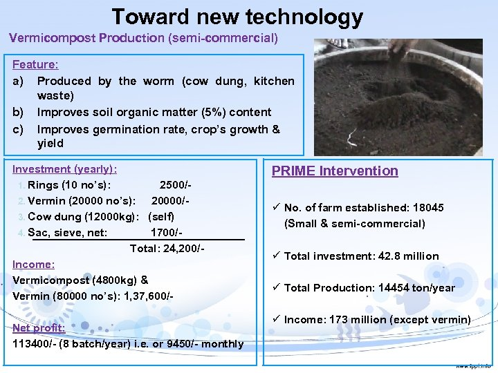 Toward new technology Vermicompost Production (semi-commercial) Feature: a) Produced by the worm (cow dung,