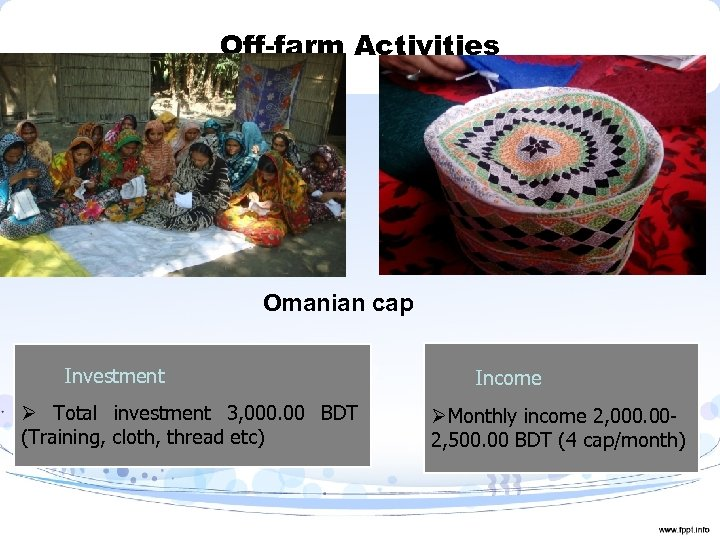 Off-farm Activities Omanian cap Investment Ø Total investment 3, 000. 00 BDT (Training, cloth,