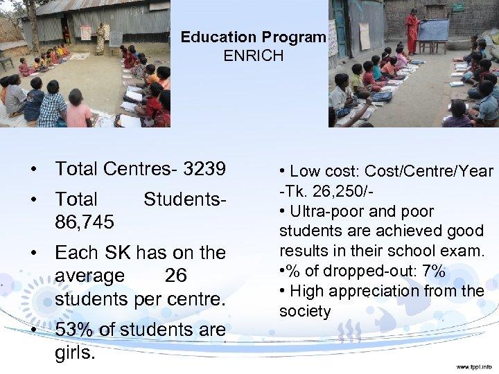Education Program ENRICH • Total Centres- 3239 • Total 86, 745 Students- • Each