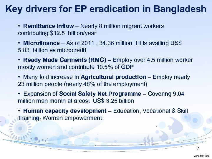 Key drivers for EP eradication in Bangladesh • Remittance inflow – Nearly 8 million