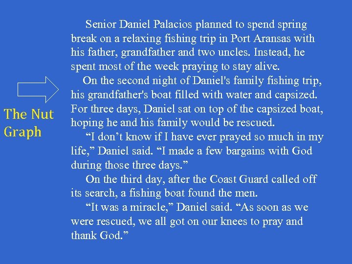 The Nut Graph Senior Daniel Palacios planned to spend spring break on a relaxing